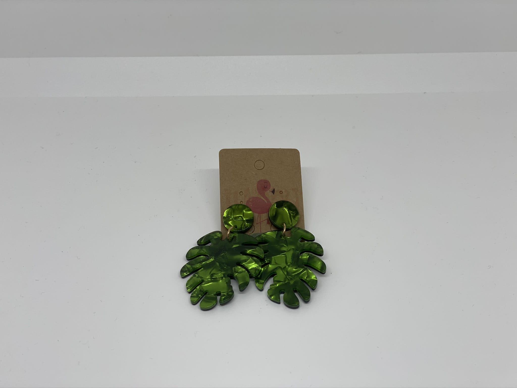 Pendientes hoja verde